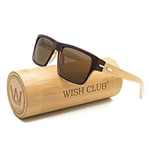 WISH CLUB Wood Wayfarer Square Handmade Sunglasses UV 400 Lenses Classical Style for Women and Men Adults Wooden Bamboo Vintage Light Retro Glasses (Brown)