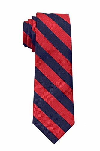 B-JCS-ADF-1-8 - Boys Regular Repp Stripe College Printed Necktie Ties (Tie Navy Stripe Boys)