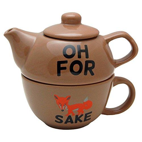 For Fox Sake - Gift Boxed Novelty Tea Pot and Cup Set - Funny Saying Profanity Visual Pun