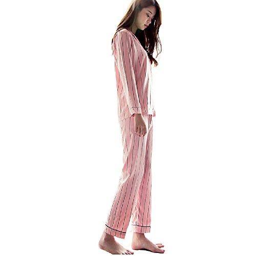 (NANJUN Women's Satin Pajamas Sleepwear Long Button-Down Pj Set(Pink-Stripe,s))