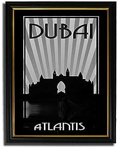 Atlantis - Black And White F08-nm (a3) - Framed