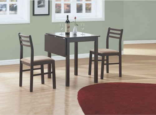 """(Set of 3) Drop Leaf Table & Chairs 30"""" Cappuccino Wood I 1078"""
