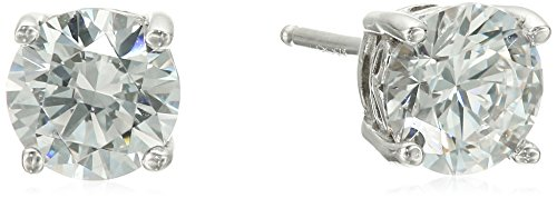 Platinum Plated Sterling Silver Stud Earrings set with Round Cut Swarovski Zirconia (2 (Two Round Earring)