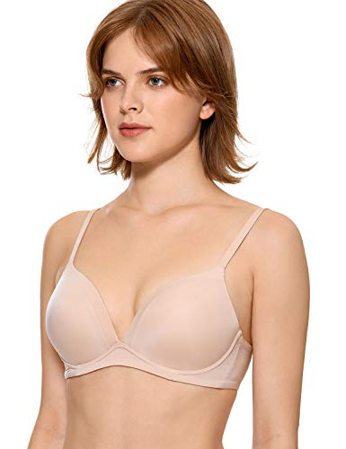 DOBREVA Women's Lightly Lined T-Shirt Non-Wired Bra Plunge Beige 32E
