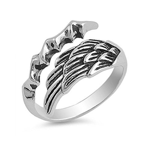 - CloseoutWarehouse Sterling Silver Angel Wing with Eagle Claw Designer Ring Size 8