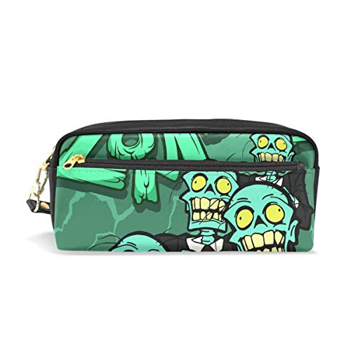 MERRYSUGAR Pencil Case Zombie Skull Halloween Green Cosmetic Makeup Zipper Bag Pencil Bag for Girls Boys School Kids Stationery Pouch Bag Leather Large Capacity -