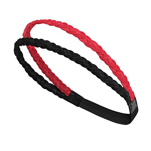 Double Braided Sport Headband Sweatband Elastic No Slip Grip Yoga Hairband Teens Girl Mini Gym Hair Bands Women Fashion Outdoor Sport Headband for Running Softball Basketball Tennis Soccer Teams