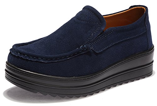 Ezkrwxn Women's Platform Shoes Suede Cow Leather Slip On Loafers Fashion Sneakers Blue