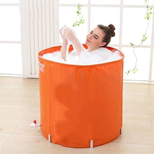 SBWFH オレンジバスタブ - 折り畳み式家庭用プラスチックラウンドバスタブ、肥厚断熱デザイン