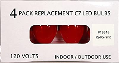 Creative Hobbies® Replacement Lamp C7 / 3 LED / 0.4W / LED Candelabra Base C7 Light Bulbs , Red Opaque , 4 Bulb Value Pack