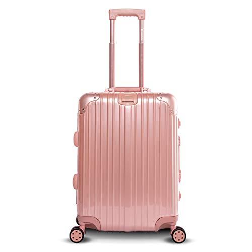 Gabbiano Aurora Collection Aluminum Frame Hardside Suitcase with TSA Locks (Rose Gold, 30