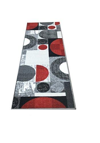 Venice Collection, 2 Feet X 7 Feet, (Non- Skid/Slip), Contemporary Rectangular Design, Kitchen/Bathroom/Hallway Area Rugs Runner (Silver Grey Red) ()