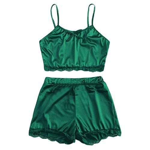 - YOcheerful Women Sleepwears Sleeveless Bow Lingeries Floral Nightwear Lace Trim Satin Top Pajama Set(Green, XL)