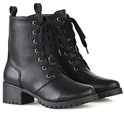 ESSEX GLAM Womens Low Heel Platform Ankle Boots Ladies Cleated Sole Combat Lace Up Shoes Size 3-8 3