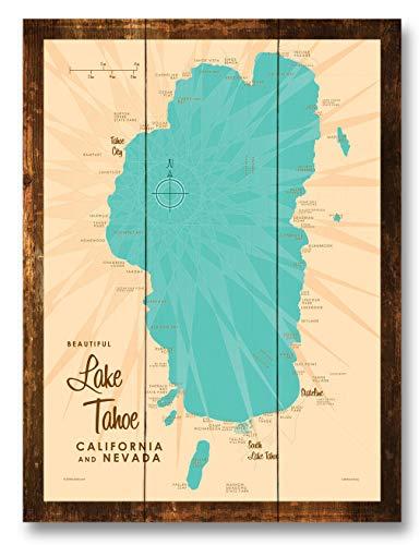 Lake Tahoe CA Nevada Vintage-Style Map Rustic Wood Art Print by Lakebound (9