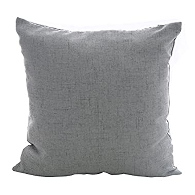 Deconovo Faux Linen Look Throw Cushion Case Pillow Cover With Invisible Zipper For Sofa, 18x18-inch, Neutral Grey