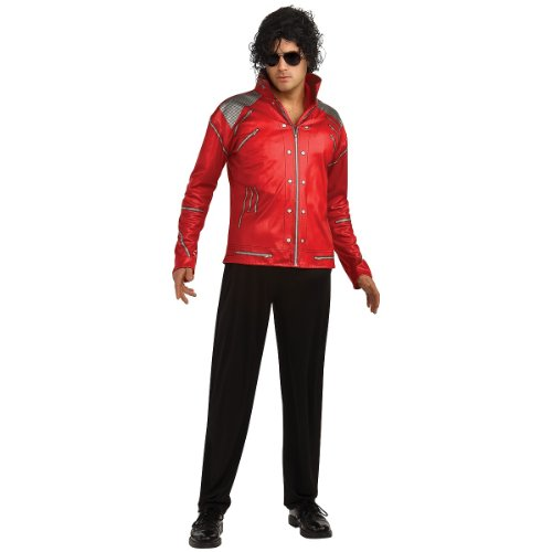 Rubie's Men's Michael Jackson Value Beat It Red Zipper Costume Jacket, As Shown, Medium -