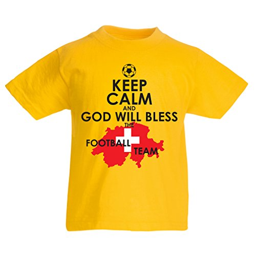 fan products of lepni.me N4478K Kids T-Shirt Keep Calm and God Will Bless The Swiss Football Team (3-4 Years Yellow Multicolor)
