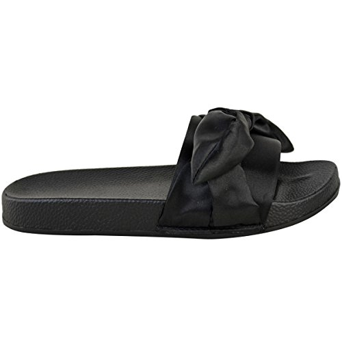 Satin Slip Thirsty Slider On Flat Summer Shoes Fashion Sandals Slipper Womens Black PXqRCw