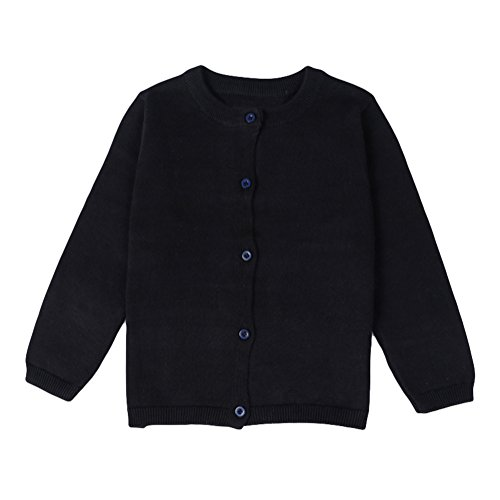 Baby Boys Girls Button-down Cardigan Toddler Cotton Knit Sweater, 12-18 month/80, Black