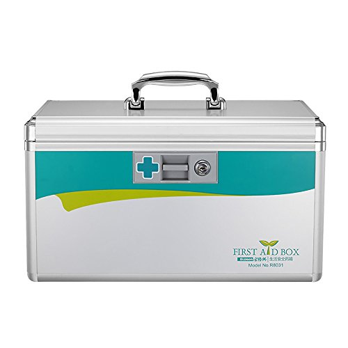 (Glosen Lockable First Aid Box Security Lock Medicine Storage Box with Portable Handle (Extra Large) 15.9x9.3x8.9 Inches Silver)