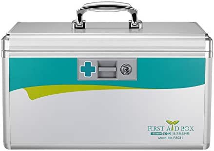 Glosen Lockable First Aid Box Security Lock Medicine Storage Box with Portable Handle (Extra Large) 15.9x9.3x8.9 Inches Silver