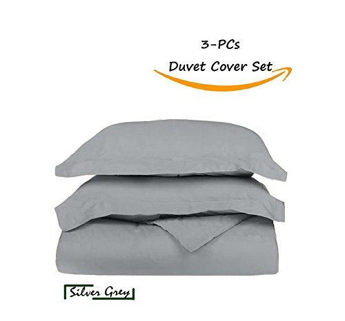 JESIRA Best Selling Italian Finish 600-TC Egyptian Cotton Quality Ultra Soft 3-PCs Duvet Cover Set { Zipper Closure } Twin/Twin XL,Silver Grey (Pattern : Solid)