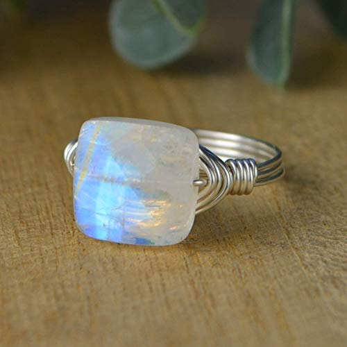 Rainbow Moonstone Ring- Faceted Square Gemstone Bead and Sterling Silver or Gold Filled Wire Wrapped Ring- Made to size 4-14 (Gemstone Faceted Five Rings)