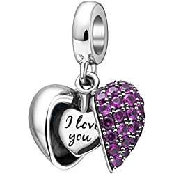 I Love You -925 Sterling Silver Heart Dangle Charm for Pandora Charms Bracelet Necklace, Valentine's Day Gifts Idea