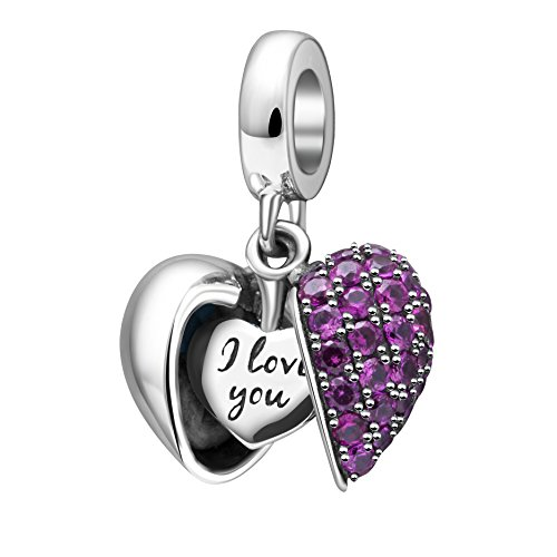 I Love You Charm 925 Sterling Silver Love Heart Dangle Bead Charms for European Charms Bracelet Necklace Heart Zable Bead