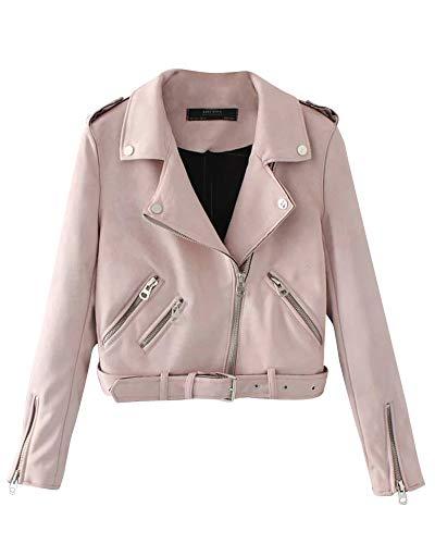 Da Giacca Kasen Lunga In Moda Breve Donna Pelle Manica Finta Pink 8dxdYr
