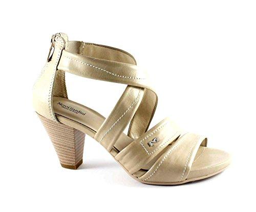 NEGRO JARDINES 15551 zapatos de arena las mujeres, sandalias de cuero con cremallera del talón sabbia