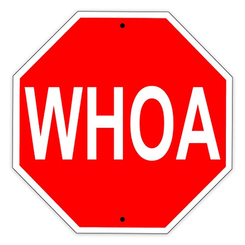 (WHOA Stop Shaped Sign Funny Aluminum Metal Sign)