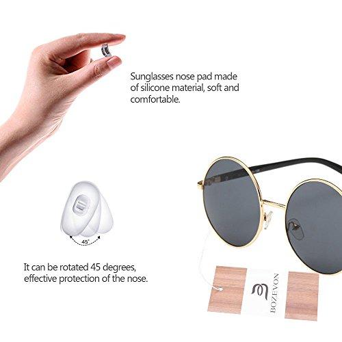 Retro BOZEVON gris Style Lens femmes Or soleil de Circle Round pour Lunettes paTqgx