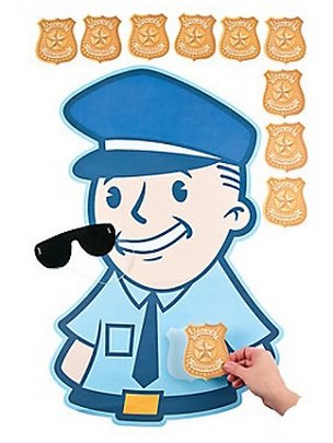 Fun Express Pin The Badge on The Policeman Police Carnival Party Game -