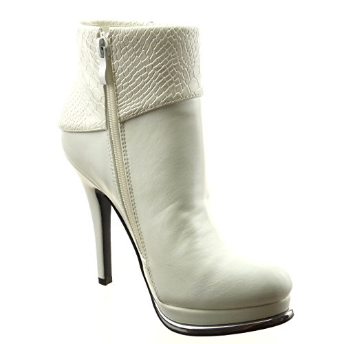 Sopily - Chaussure Mode Bottine Plateforme Cheville femmes Peau de serpent Métallique Talon haut bloc 12.5 CM - Intérieur fourrure synthétique - fourrée - Blanc