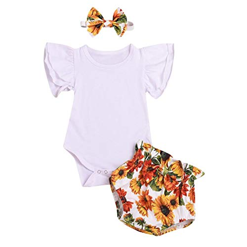 Baby Girls Ruffle Romper 3PCS Infant Clothes Set Flutter Sleeve White Romper + Sunflower Shorts + Headband Summer Outfits
