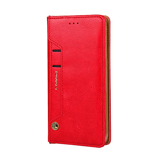 TechCode Galaxy S9+ Book Cover, Dual Layer Design Premium PU Leather Flip Case Vintage Fashion Smart Stand Cover Lightweight Wallet Sleeve with Credit Card Slots For Samsung Galaxy S9 plus 6.2''(Red) by TechCode