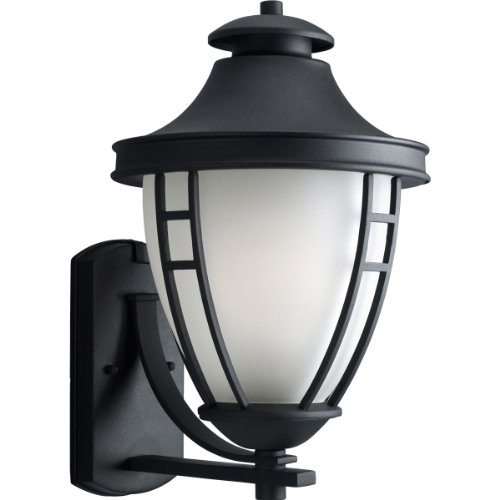 Progress Lighting P5780-31 1-Light Wall Lantern with Etched Glass, Textured Black