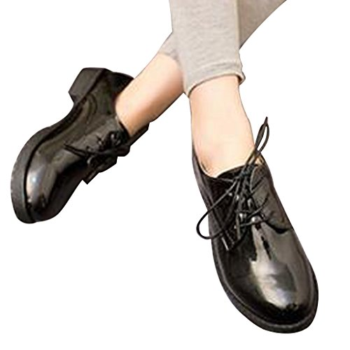Cher Temps Femmes Lacets Oxfords Chaussures Noires