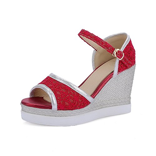 AmoonyFashion Womens High-Heels Soft Material Buckle Open Toe Sandals Red DqvjgoRl91