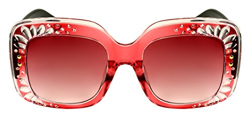 Edge-I-Wear Oversized Square Rhinestone Sunglasses w/Gradient Lenses EC3335R-AP - Rhinestone Shades
