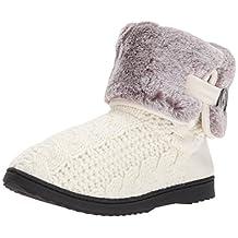 Dearfoams Women's Cable Knit Boot w Plush Cuff