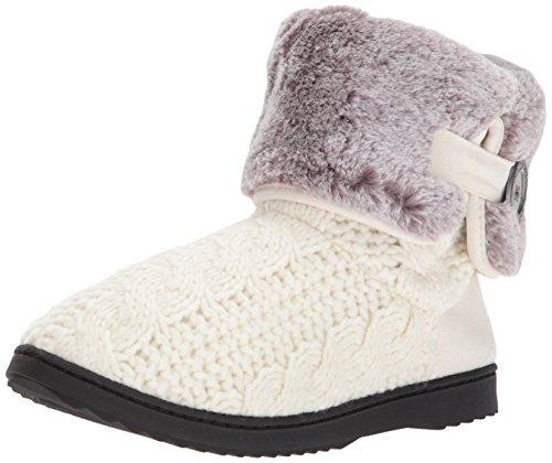 Dearfoams Women's Cable Knit Boot w Plush Cuff Muslin