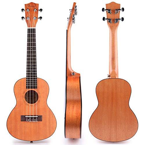 Concert Ukulele Mahogany Wooden 23 Inch for Kids Beginner with Uke Gig Bag Strap Picks Capo Nylon String