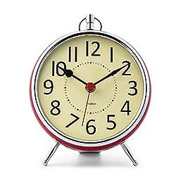 CLOCKZHJI Mute Desk Clocks Living Room Bedroom Bedside Retro Metal Table Clock