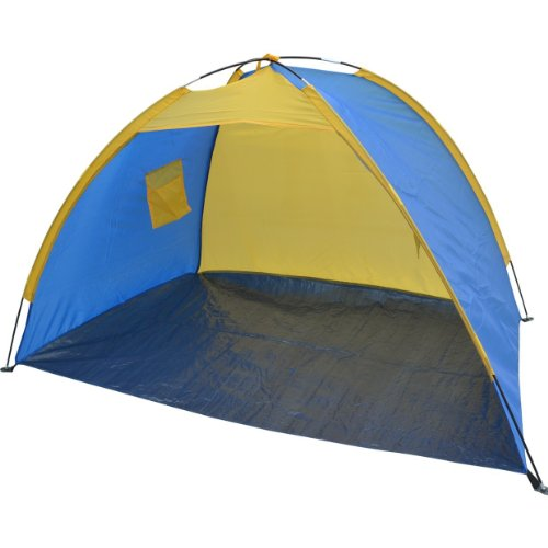 STRONG CAMEL PORTABLE POP UP BEACH SHELTER SAND TENT SUN SHADE OUTDOOR-dark blue with yello