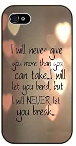 iPhone 6 I will never give you more than you can take ...I will let you bend, but I will never let you break - Bible verse black plastic case / Christian Verses