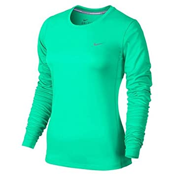 1cf5ae71 Nike Women's Miler Long Sleeve Top, Green Glow/Reflective Silver, Small