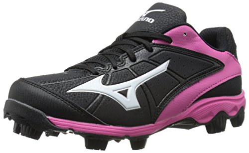 Mizuno Women's 9 Spike ADV Finch 6 Fast Pitch Molded Softball Cleat, Black/Pink, 7.5 M US (9 Softball Cleat Mid Spike)